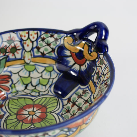 "Medium Mexican Talavera Cazuela Bowls with Handles, 11"" - Zinnia Folk Arts"