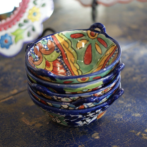 "Small Mexican Talavera Cazuela Bowls with Handles, 7"" - Zinnia Folk Arts"