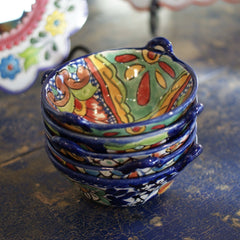 Small Mexican Talavera Cazuela Bowls with Handles, 7""
