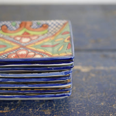 Handmade Dessert Plates in the Talavera Style, Square