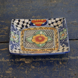 Handmade Salad Plates in the Talavera Style, Square - Zinnia Folk Arts