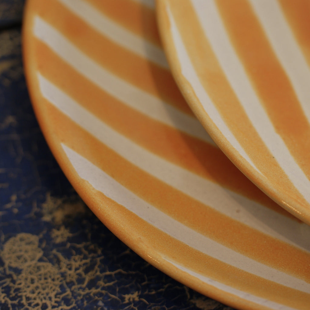 Striped Handmade Plates and Cups, Orange and White - Zinnia Folk Arts
