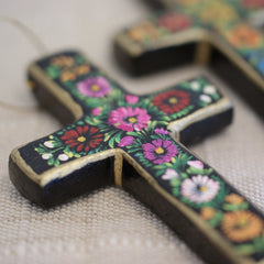 Small Lacquered & Painted Chiapas Wood Cross