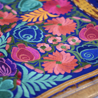 Bright Colors 4' Long Mexican Embroidered Table Runner Textile - Zinnia Folk Arts
