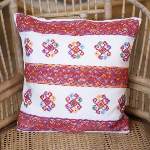 Multi-Color on White Handwoven Square Pillow Cover, Chiapas - Zinnia Folk Arts