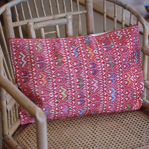 Red on White Chiapas Lumbar Pillow - Zinnia Folk Arts