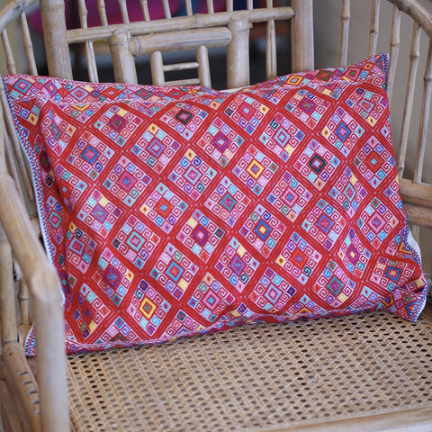 Red & Multi-color Handwoven Lumbar Pillow, Chiapas - Zinnia Folk Arts