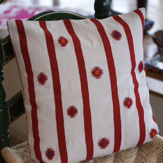 White with Red, Embroidered Pillow Covers from Chiapas, Mexico - Zinnia Folk Arts