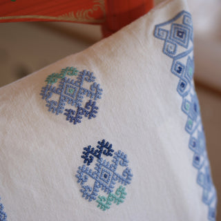 Blues on White Handmade Chiapas Lumbar Pillows - Zinnia Folk Arts