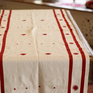 White with Red, Embroidered Tablerunner from Chiapas, Mexico - Zinnia Folk Arts