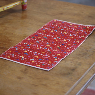 San Andres, Chiapas, Red with Multi Woven Tapete, Small - Zinnia Folk Arts