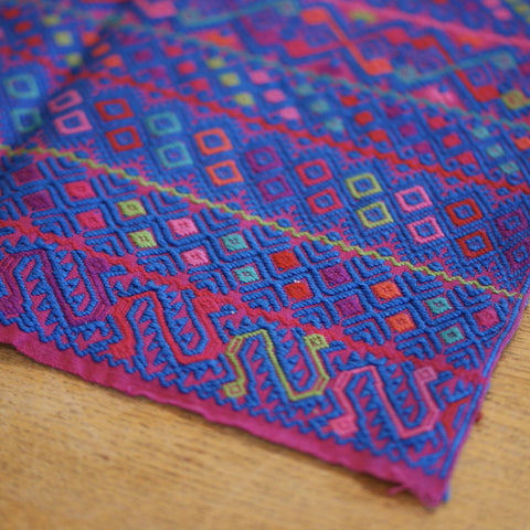 Traditional Chiapas Blue on Fuschia Woven Tapete, Large - Zinnia Folk Arts