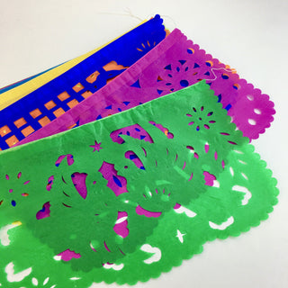 Large Papel Picado, Mexican  Flags on a String, Spring Motif - Zinnia Folk Arts