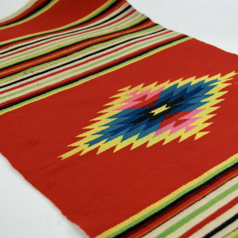 Red-Orange Authentic Vintage Saltillo Mexican Runner, No Fringe - Zinnia Folk Arts