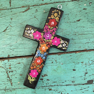 Lacquered & Painted Chiapas Wood Crosses, Various Sizes - Zinnia Folk Arts