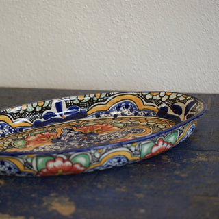 Shallow, Long Oval Talavera Baking Pan - Zinnia Folk Arts