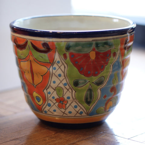Ribbed Talavera Flower Pots, Small - Zinnia Folk Arts