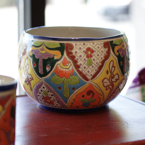 Round Mexican Talavera Flower Pots, Medium - Zinnia Folk Arts