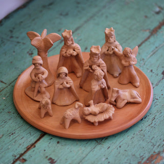 Terracotta Nativity 14 Piece Nativity Set, Guatemala - Zinnia Folk Arts