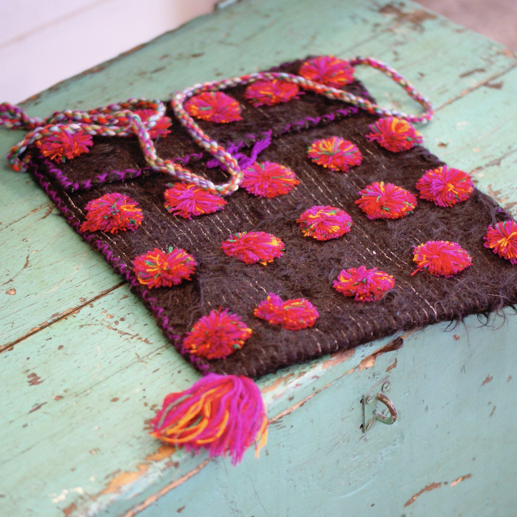 Large Wool with Pom Poms Bags from Chiapas - Zinnia Folk Arts