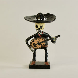 "Glossy Paper Mache Day of the Dead Mariachis, 8"" Tall - Zinnia Folk Arts"