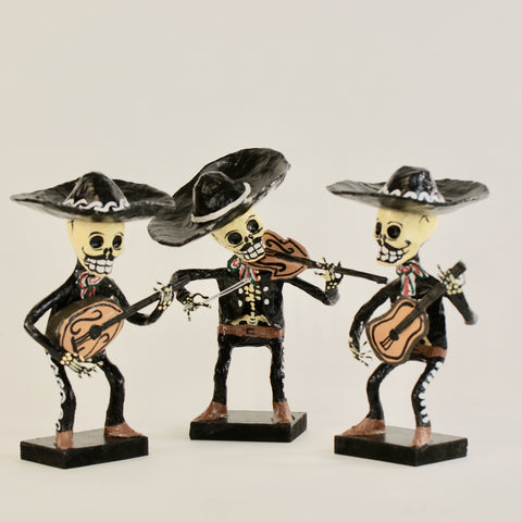 Glossy Paper Mache Day Of The Dead Mariachis 8 Tall