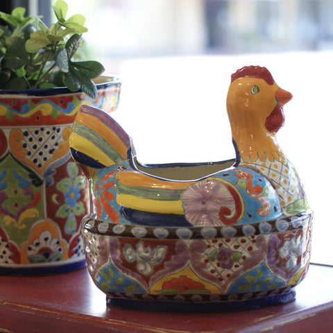 Colorful Talavera Chicken Flower Pot, Large - Zinnia Folk Arts