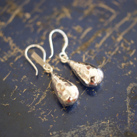 Hammered Teardrop Silver Earring - Zinnia Folk Arts