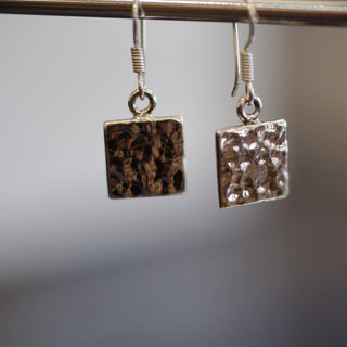 Hammered Round or Square Everyday Silver Earring - Zinnia Folk Arts