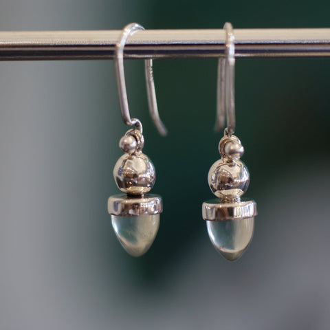 Acorn Sterling Silver Earring with Stone - Zinnia Folk Arts