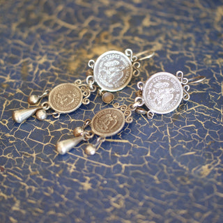 Mazahua Sterling Silver Earring with Two Mexican Coins - Zinnia Folk Arts