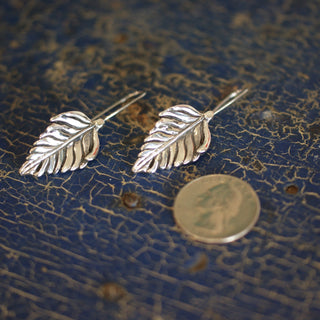 Silver Palm Leaf Earrings - Zinnia Folk Arts