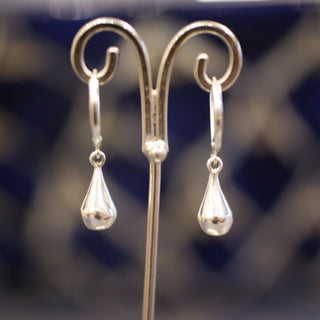 Smooth Small Teardrop Silver Earring - Zinnia Folk Arts