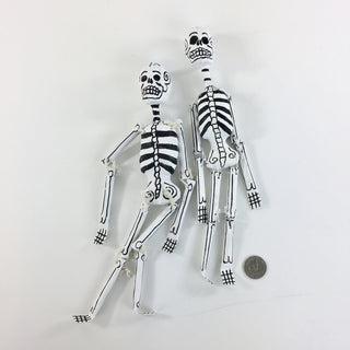 Dangling Day of the Dead Paper Mache Skeletons with Glitter - Zinnia Folk Arts