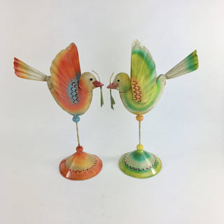 Tin Bird Candleholders, Two Sizes - Zinnia Folk Arts