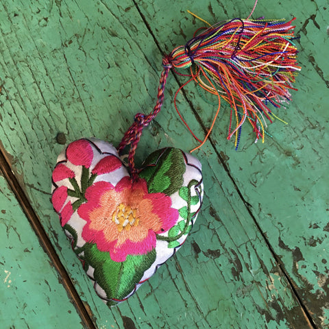 Embroidered Chiapas Mexican Hearts - Zinnia Folk Arts
