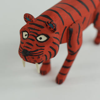 Mexican Wood Carving, Red Striped Tiger by Santiago Family - Zinnia Folk Arts