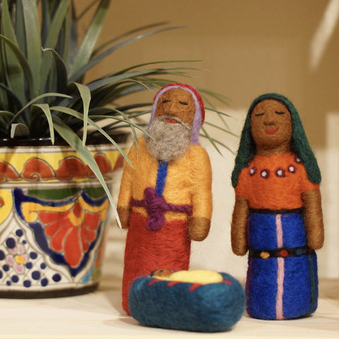 Felted Wool Guatemalan Nativity Set, 4 Pieces