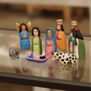 Sophisticated Carved & Painted Mexican Nativity, San Martin Tilcajete, Oaxaca - Zinnia Folk Arts