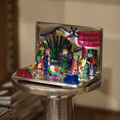 Fold-Up Painted Mexican Tin Nativity Box, Tiny