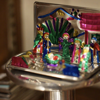 Fold-Up Painted Mexican Tin Nativity Box, Tiny - Zinnia Folk Arts