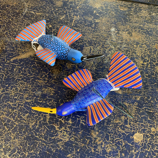 Carved and Painted Hummingbirds, Xuana Family, San Martin Tilcajete - Zinnia Folk Arts