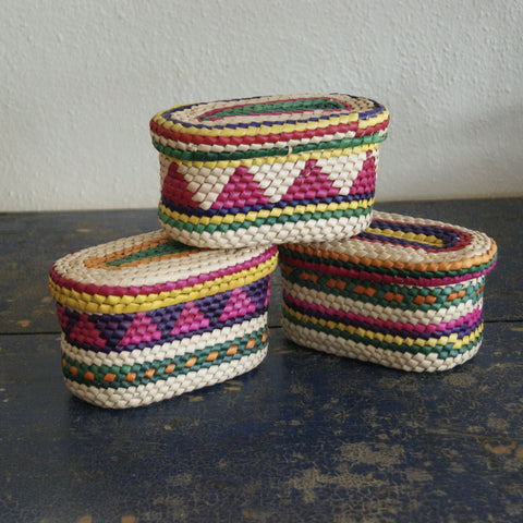 Woven Palma Oval Box with Lid - Zinnia Folk Arts