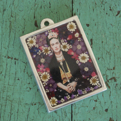 Frida Kahlo in Pewter Frame - Zinnia Folk Arts