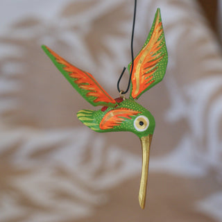 Rustic Mexican Wood Carved and Painted Hummingbirds - Zinnia Folk Arts