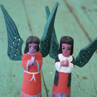 "Carved Wood Angels from Oaxaca, 5.5"" Tall - Zinnia Folk Arts"