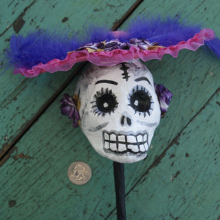 Paper Mache Skull Day of the Dead Maracas - Zinnia Folk Arts