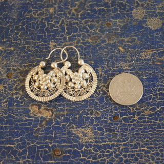 Silver Jerez Arracadas, Medium Large - Zinnia Folk Arts