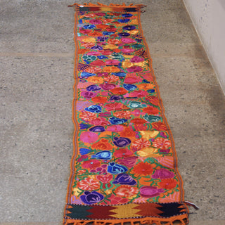 8' Mexican Machine Embroidered Tablerunner - Zinnia Folk Arts