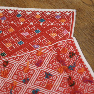 San Andres, Chiapas Red with Orange Woven Tapete - Zinnia Folk Arts